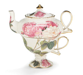 ROSE GARDEN TEA FOR ONE TEAPOT AND CUP