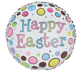 "17"" HAPPY EASTER ON SPOTS BALLOON"