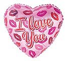 "17"" I LOVE YOU LIPS ON PINK HEART"