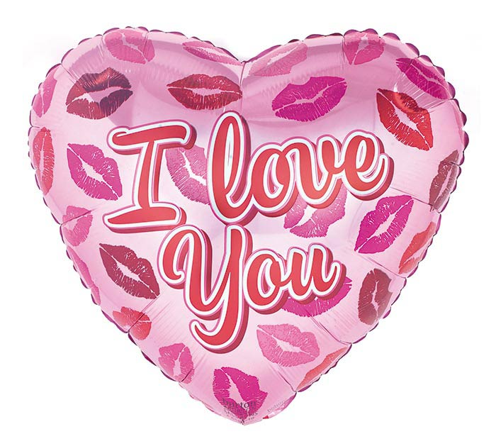 """17"""" I LOVE YOU LIPS ON PINK HEART"""