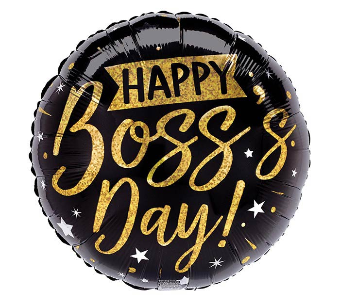 """9""""INFLATED BOSS'S DAY GOLD  BLACK"""