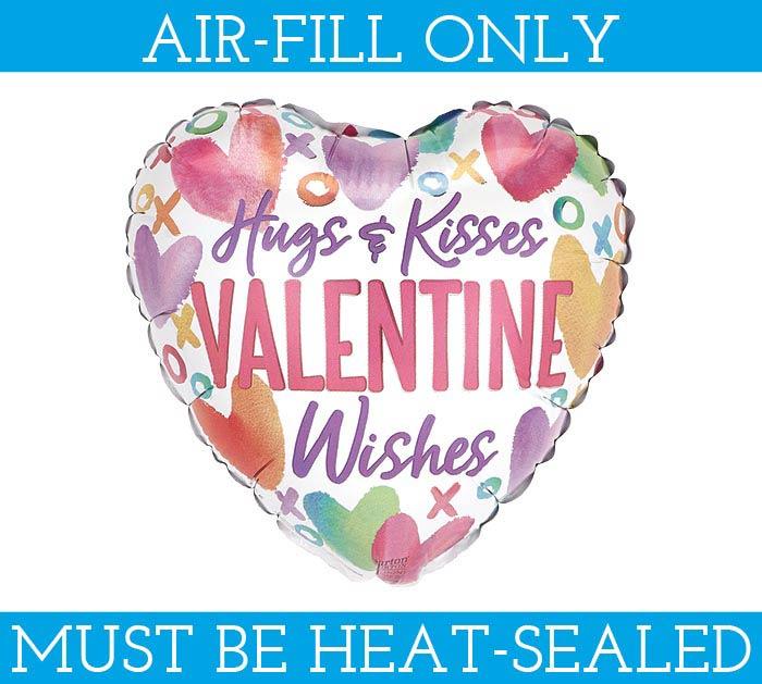 "4""FLAT HUGS  KISSES VALENTINE WISHES"