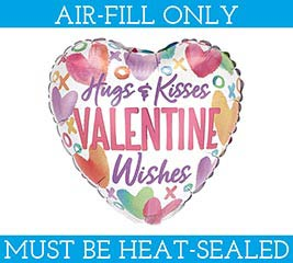 "9""FLAT HUGS  KISSES VALENTINE WISHES"