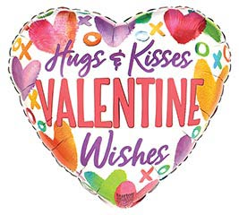 "17"" HUGS  KISSES VALENTINE WISHES"