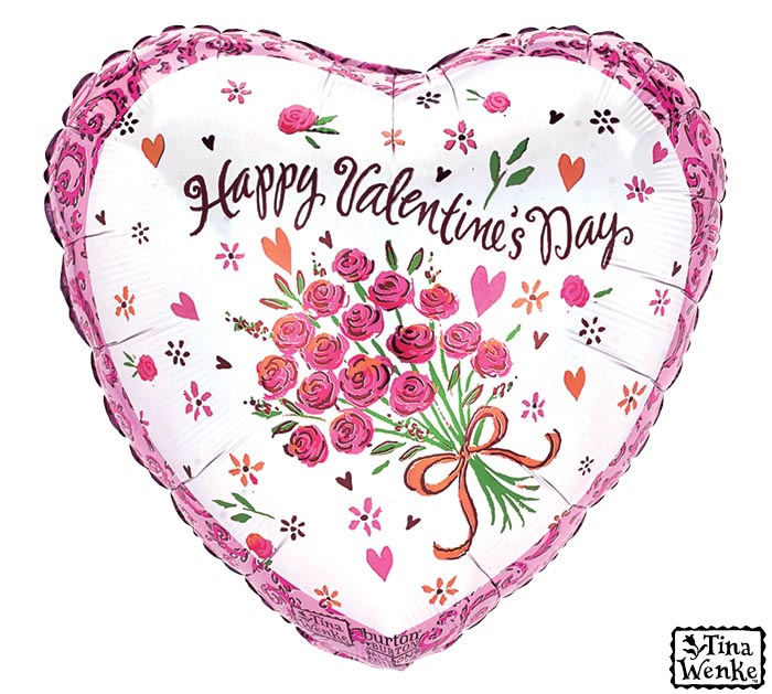 """17"""" HAPPY VALENTINE'S DAY HEART ROSES"""