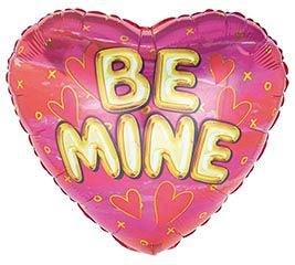 "17"" VALENTINE BE MINE GOLD ON PINK HEART"