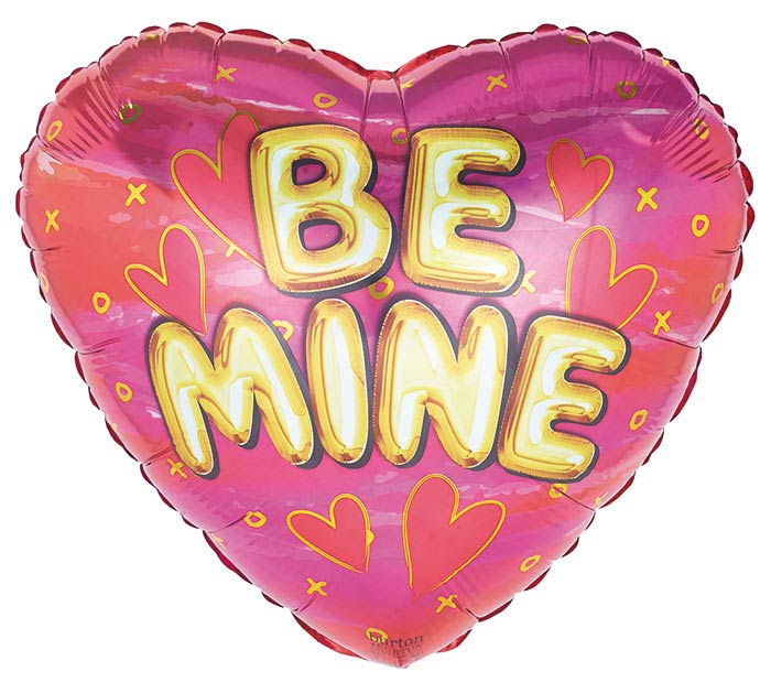 "17"" VALENTINE BE MINE GOLD ON PINK HEART"