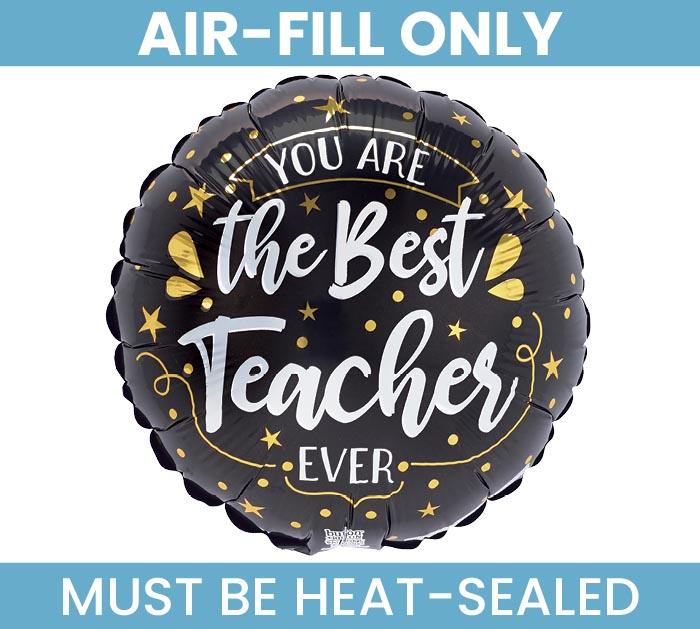 """9""""FLAT BEST TEACHER EVER GOLD  BLACK"""