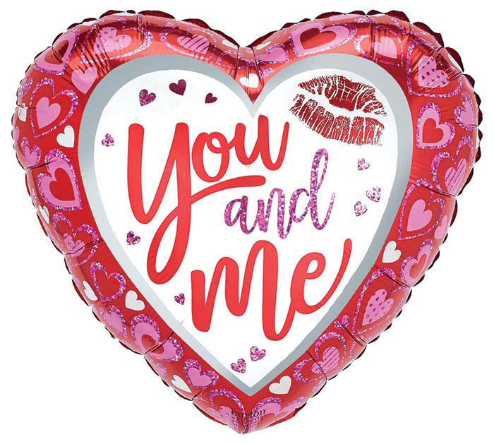 """17"""" YOU AND ME VALENTINE HEART PINK/RED"""