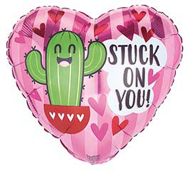 """17"""" STUCK ON YOU VALENTINE CACTUS HEART"""