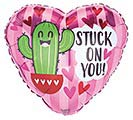 "17"" STUCK ON YOU CACTUS ON HEART"