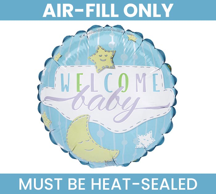 "9"" FLAT WELCOME BABY BLUE MINI BALLOON"