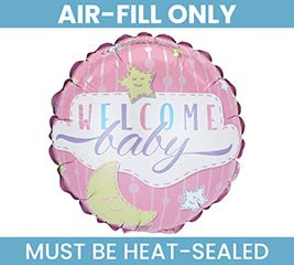 """9"""" FLAT WELCOME BABY PINK BALLOON"""
