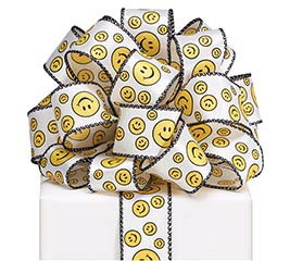 #9 SMILEY FACE WIRED SATIN RIBBON