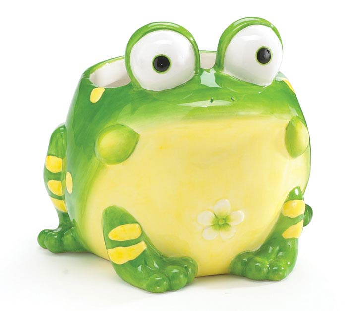 TOBY TOAD SHAPED CERAMIC PLANTER