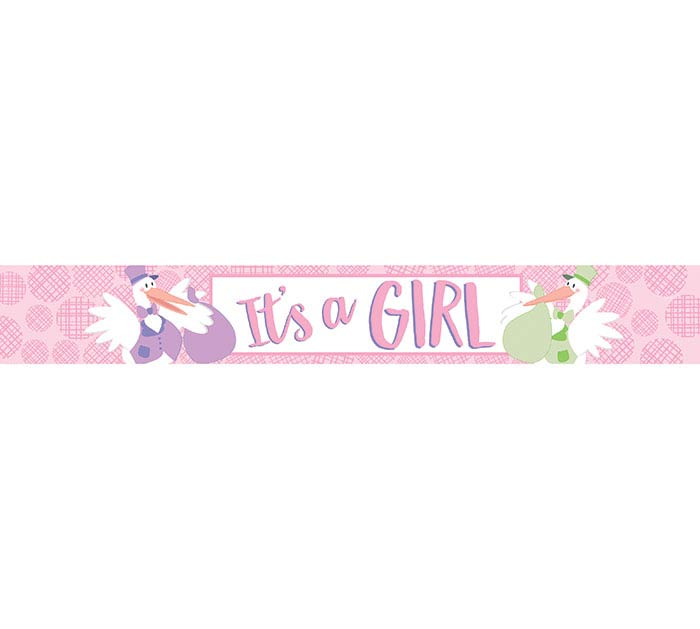 50 YD BANNER IT'S A GIRL STORK