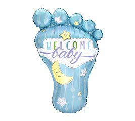 "32"" PKG WELCOME BABY BLUE FOOT BALLOON"