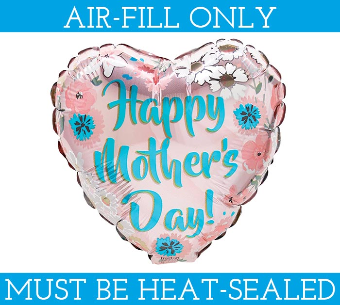 "9""FLAT MOTHER'S DAY PEACH FLORAL HEART"
