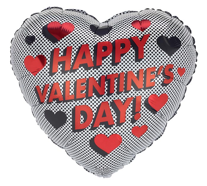 "17"" VALENTINE'S DAY RED  BLACK HEARTS"