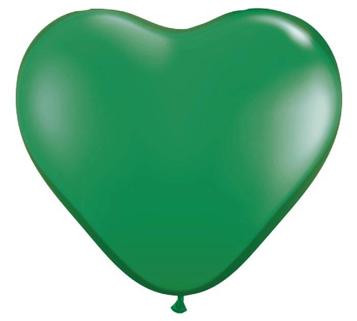 "6"" QUALATEX GREEN HEART SHAPED LATEX"