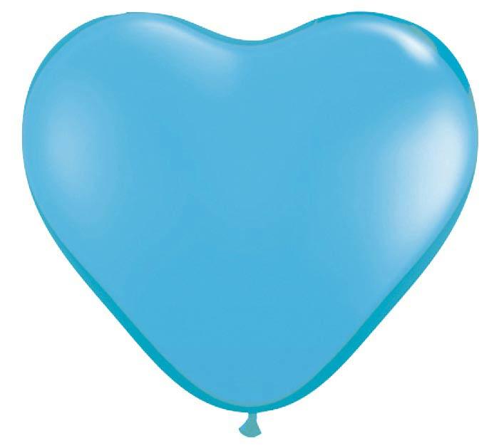 "6"" QUALATEX PALE BLUE HEART LATEX"