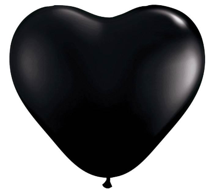 "6"" QUALATEX ONYX BLACK HEART SHAPE LATEX"