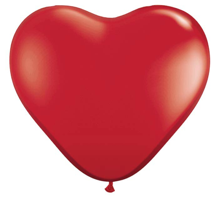 "6"" QUALATEX RUBY RED HEART SHAPE LATEX"