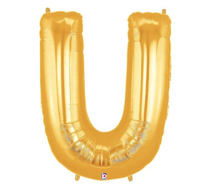 """34"""" LETTER U GOLD MEGALOON"""
