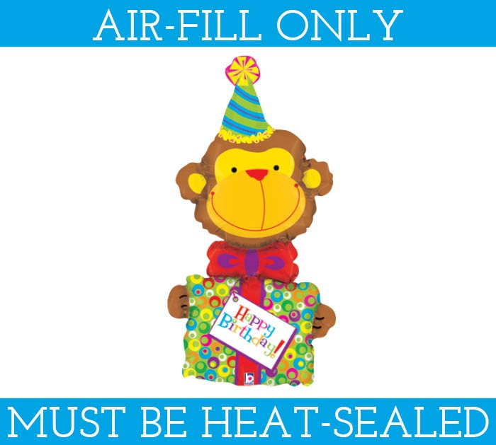 "14"" HAPPY BIRTHDAY MONKEY AIR FILL ONLY"