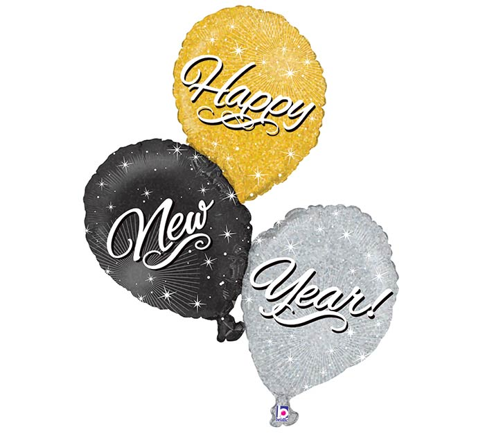"""40"""" HAPPY NEW YEAR BALLOON CLUSTER"""