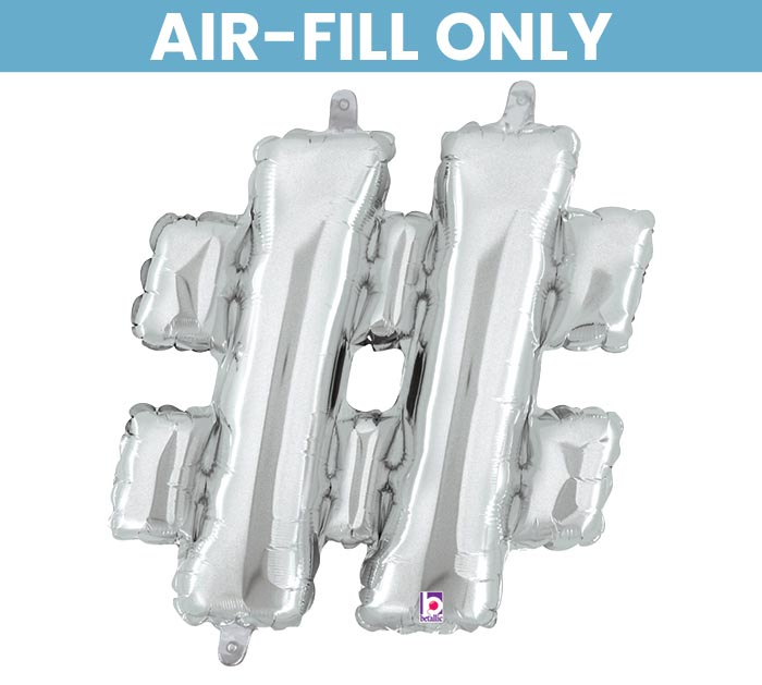 """14"""" SILVER HASHTAG # AIR FILL ONLY"""