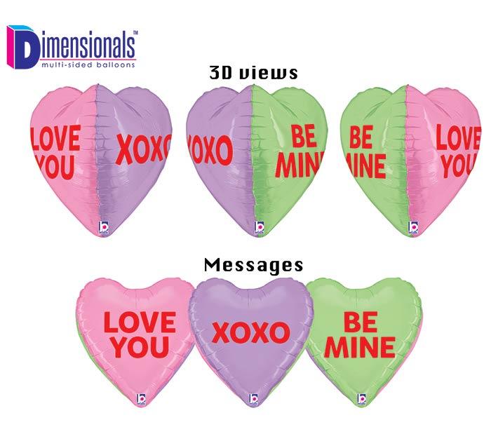 "23""LUV DIMENSIONALS CONVERSATION HEARTS"