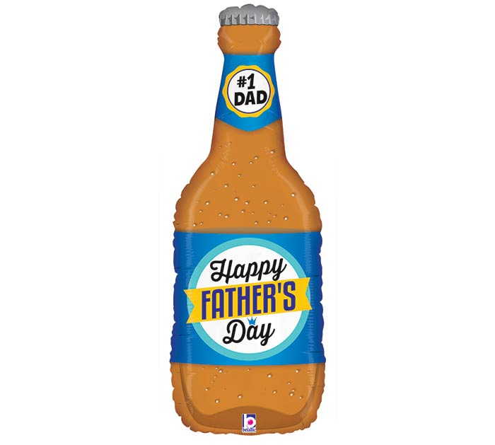 "34""HFD FATHER'S DAY BEER BOTTLE CLEAR"