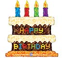 "31"" PKGD PIXEL BIRTHDAY CAKE SHAPE"