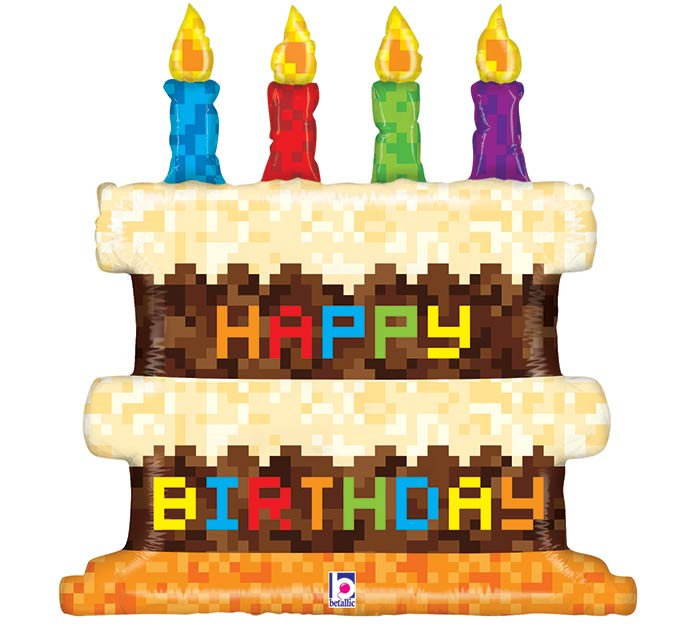 "31"" PKGD PIXEL BIRTHDAY CAKE SHAPE"