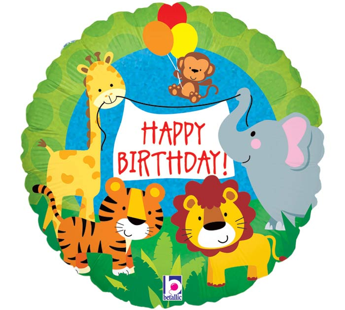 """9""""INFLATED HBD JUNGLE ANIMALS"""