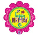 "18""PKG HBD BUTTON FLOWERS HOLOGRAPHIC"