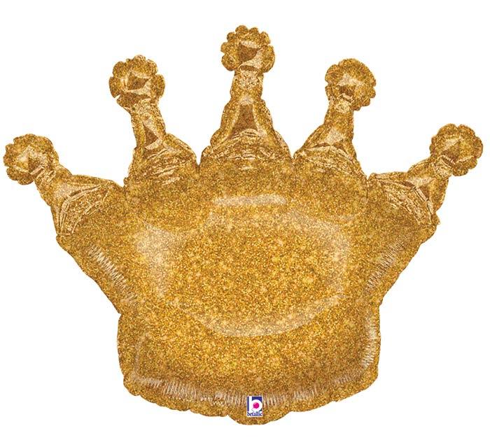 "36"" PKGD GOLD GLITTERING CROWN SHAPE"