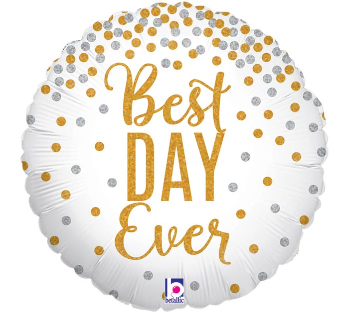 "18""PKG WED BEST DAY EVER GLITTERING"