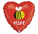"18""VAL GLITTERING BEE MINE HEART"