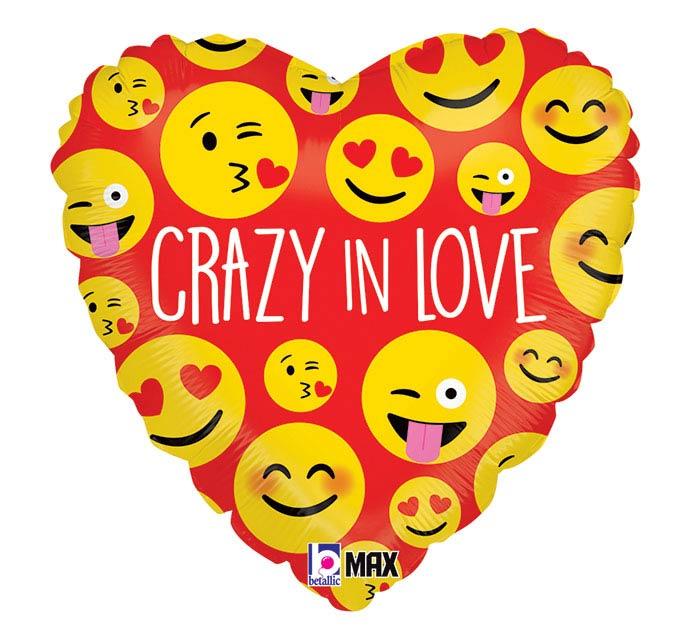 """18""""LUV CRAZY IN LOVE EMOTICONS"""