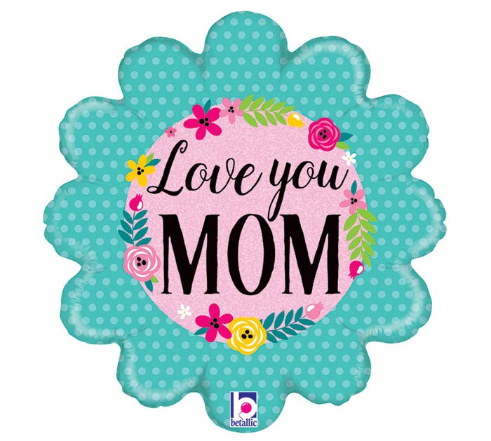 "18""MOM GLITTERING FLORAL LOVE YOU MOM"