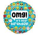 """18""""PKG HBD EMOJI OMG BIRTHDAY"""