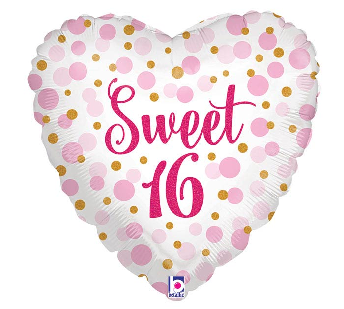 "18""PKG HBD GLITTER SWEET 16"