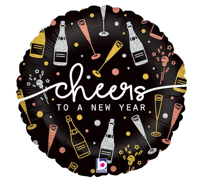 """18"""" NEW YEAR CHEERS HOLOGRAPHIC"""