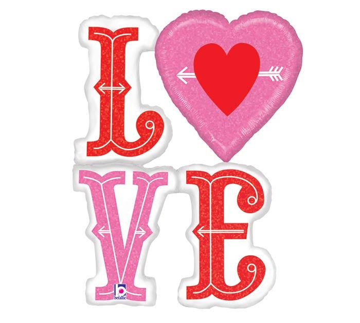 """46"""" LOVE HEART  ARROWS"""