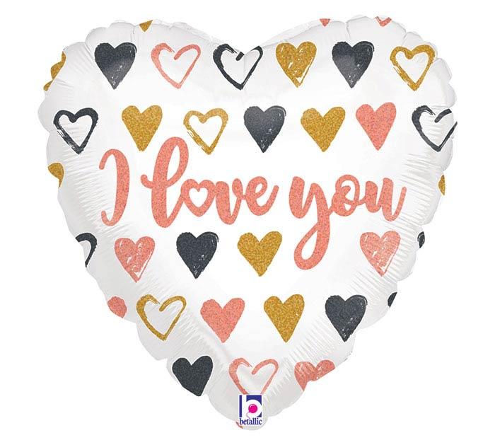 """18""""PKG ROSE GOLD HEARTS I LOVE YOU"""