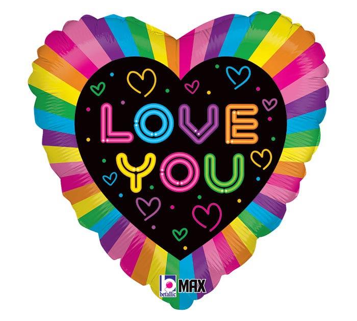 """18""""PKG NEON LOVE HEART"""