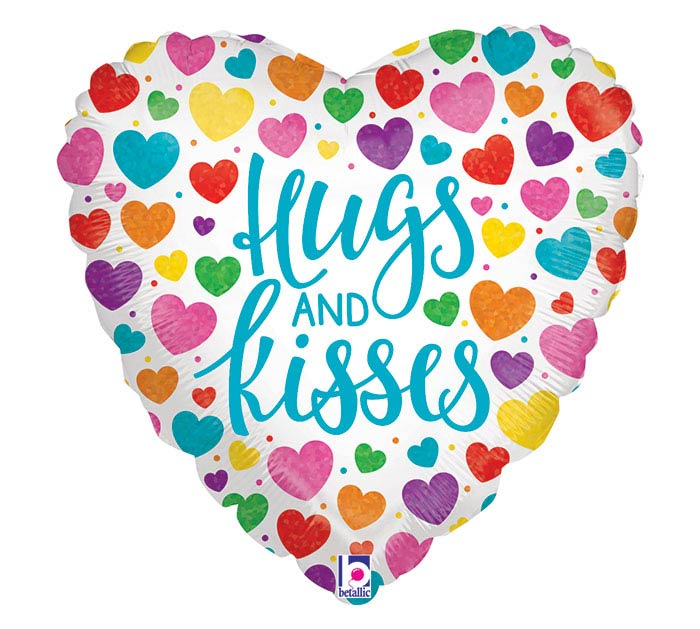 "18""PKG HUGS  KISSES HEART HOLOGRAPHIC"