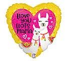 "18"" LLOVE YOU MAMA LLAMA HEART"